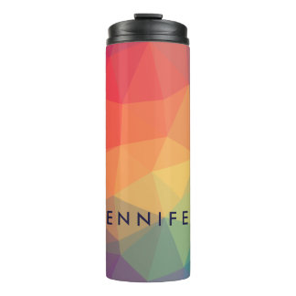 Elegant modern polygonal colored add your name thermal tumbler