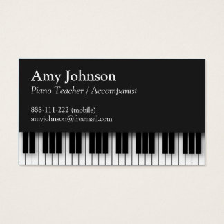 Elegant, Modern, Professional, Piano Teacher Business Card
