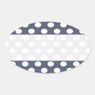 Elegant modern romantic polka dots personalized oval sticker