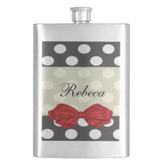 Elegant modern romantic polka dots red bow wedding hip flask