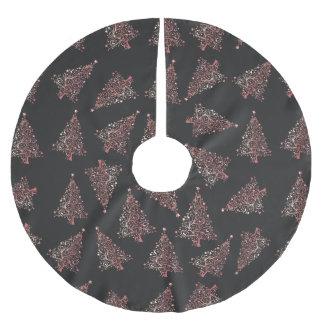 Elegant modern rose gold Christmas tree pattern Brushed Polyester Tree Skirt