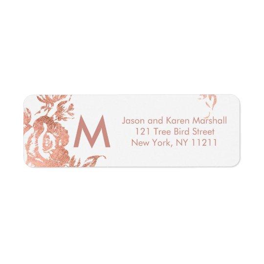 Elegant Modern Rose Gold Floral Address Labels