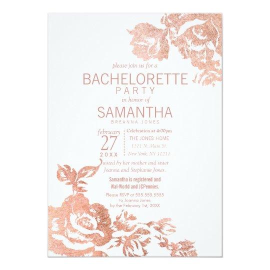 Elegant Modern Rose Gold Floral Bachelorette Party Card