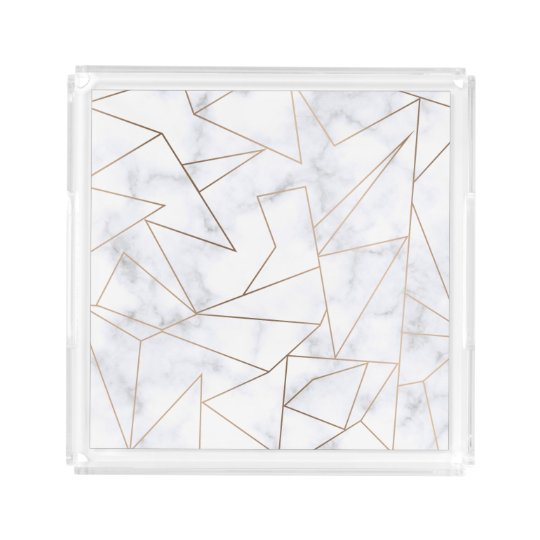 elegant modern rose gold geometric white marble acrylic