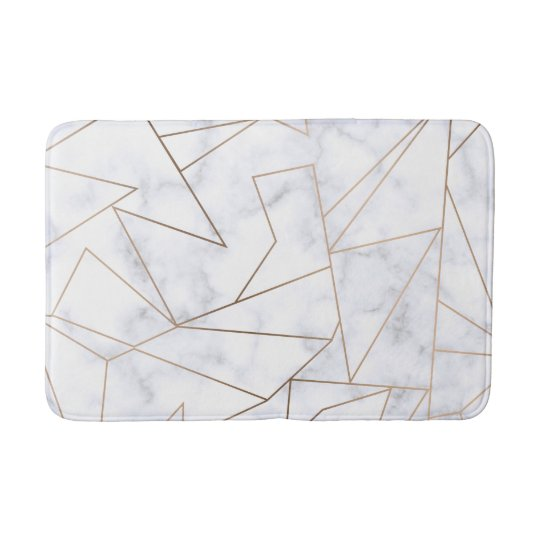 elegant modern rose gold geometric white marble bath