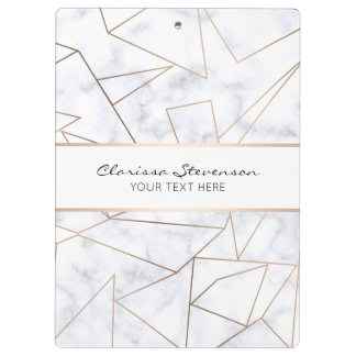 elegant modern rose gold geometric white marble clipboard