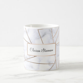 elegant modern rose gold geometric white marble coffee mug
