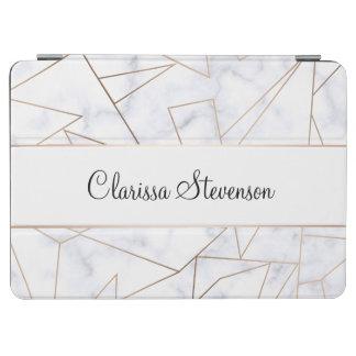 elegant modern rose gold geometric white marble iPad air cover