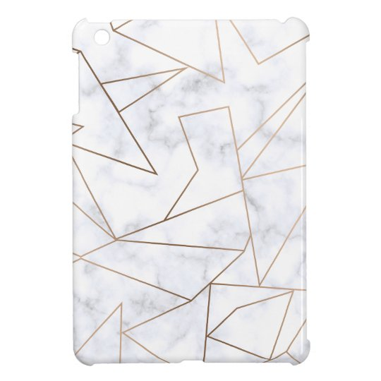 elegant modern rose gold geometric white marble iPad
