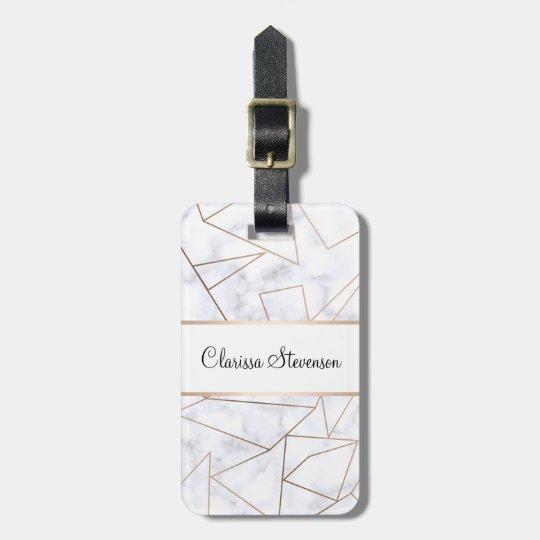elegant modern rose gold geometric white marble luggage