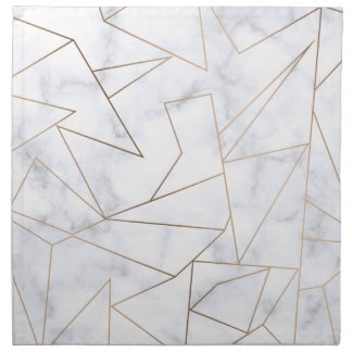 elegant modern rose gold geometric white marble napkin