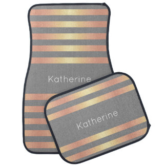 Elegant Modern Rose Gold Gradient Stripes Grey Car Mat