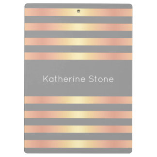 Elegant Modern Rose Gold Gradient Stripes Grey Clipboard