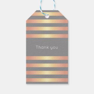 Elegant Modern Rose Gold Gradient Stripes Grey Gift Tags