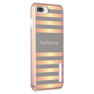 Elegant Modern Rose Gold Gradient Stripes Grey Incipio DualPro Shine iPhone 8 Plus/7 Plus Case
