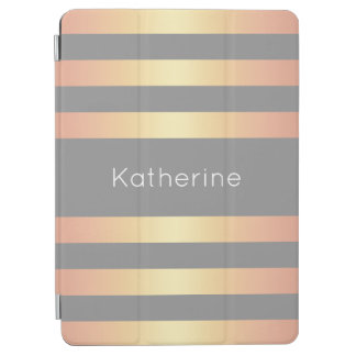 Elegant Modern Rose Gold Gradient Stripes Grey iPad Air Cover