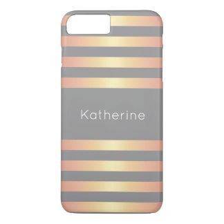 Elegant Modern Rose Gold Gradient Stripes Grey iPhone 8 Plus/7 Plus Case