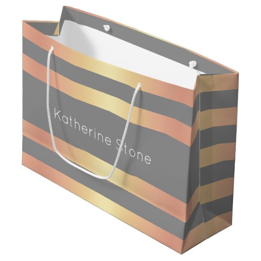 Elegant Modern Rose Gold Gradient Stripes Grey Large