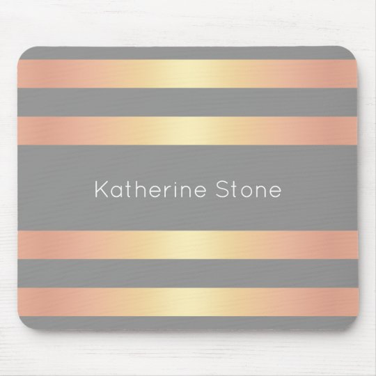 Elegant Modern Rose Gold Gradient Stripes Grey Mouse