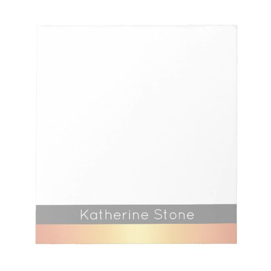 Elegant Modern Rose Gold Gradient Stripes Grey Notepad
