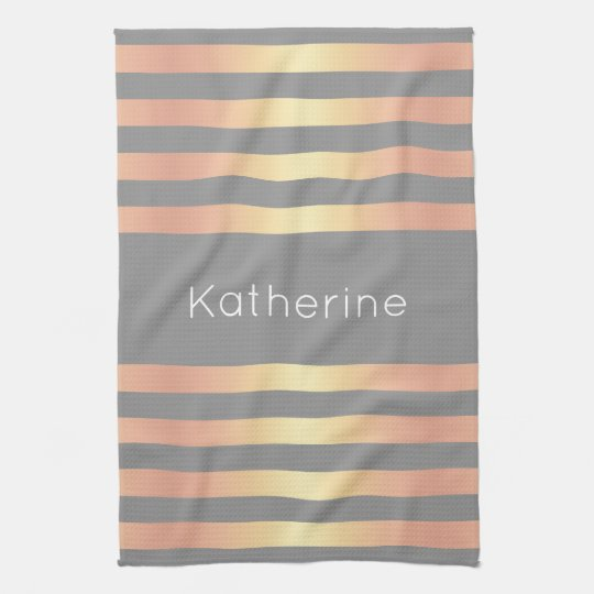 Elegant Modern Rose Gold Gradient Stripes Grey Tea