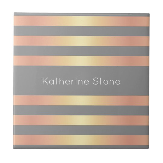 Elegant Modern Rose Gold Gradient Stripes Grey Tile