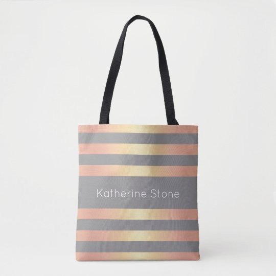 Elegant Modern Rose Gold Gradient Stripes Grey Tote