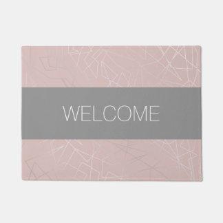 Elegant modern silver geometric triangles pink doormat