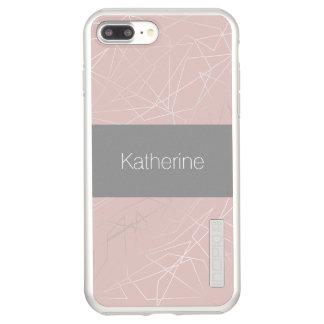 Elegant modern silver geometric triangles pink incipio DualPro shine iPhone 8 plus/7 plus case
