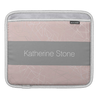 Elegant modern silver geometric triangles pink iPad sleeve
