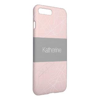 Elegant modern silver geometric triangles pink iPhone 8 plus/7 plus case