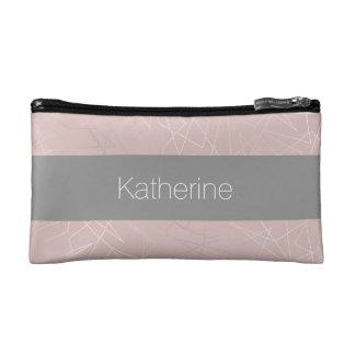Elegant modern silver geometric triangles pink makeup bag
