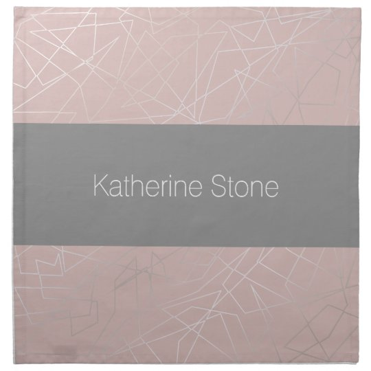 Elegant modern silver geometric triangles pink napkin