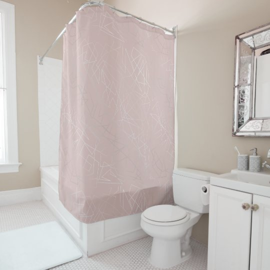 Elegant modern silver geometric triangles pink shower curtain