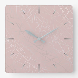 Elegant modern silver geometric triangles pink square wall clock