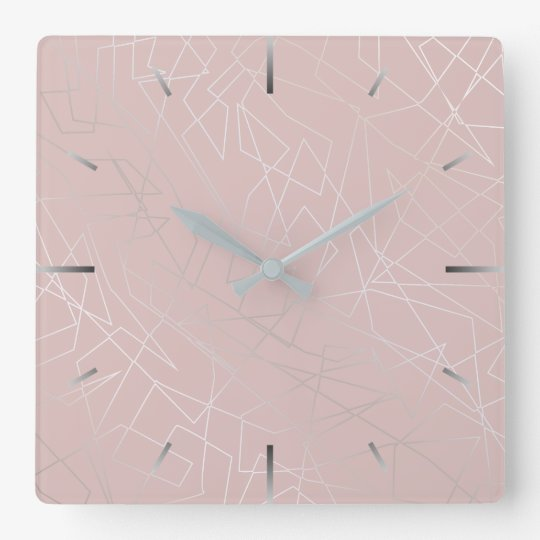 Elegant modern silver geometric triangles pink square wall