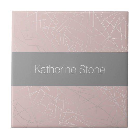 Elegant modern silver geometric triangles pink tile