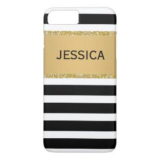 Elegant Modern Stripes Black Faux Gold Glitter iPhone 8 Plus/7 Plus Case