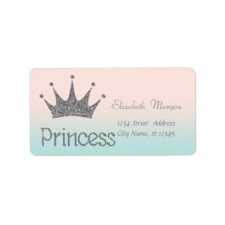 Elegant Modern Stylish,Glittery Tiara Princess Address Label