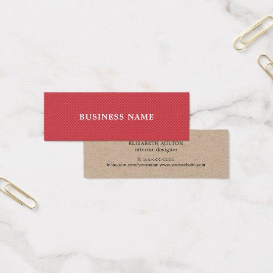Elegant Modern Texture Red Kraft Paper Mini Business