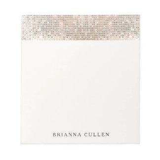 Elegant Modern Trendy Silver Sequins Notepad