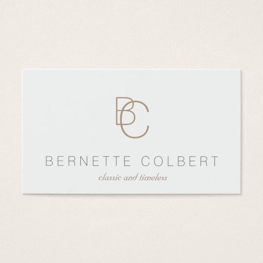 Elegant Modern Two Initial Monogram Professional Business Card