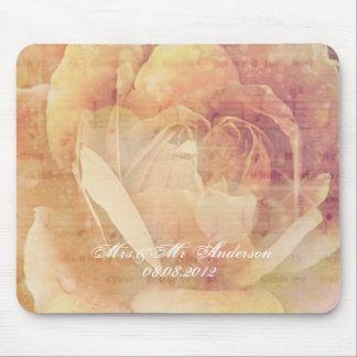 elegant modern vintage pink rose floral wedding mouse pad