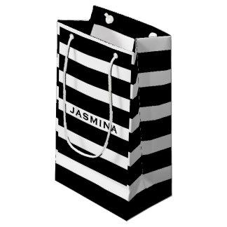 Elegant Modern White And Black Stripes Pattern 2 Small Gift Bag