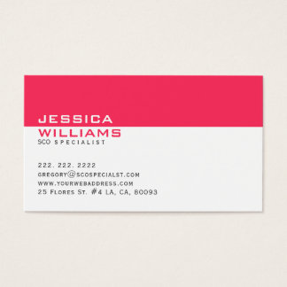 Elegant Modern White & Deep Pink SEO Specialist Business Card