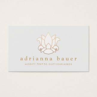 Elegant Modern White Lotus Flower Light Gray Business Card