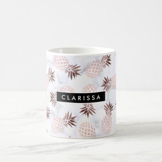elegant modern white marble rose gold pineapple coffee
