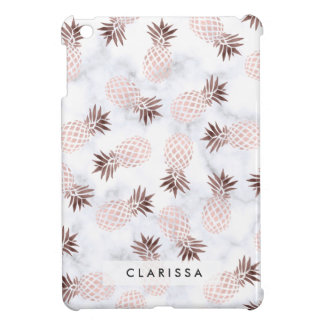 elegant modern white marble rose gold pineapple cover for the iPad mini
