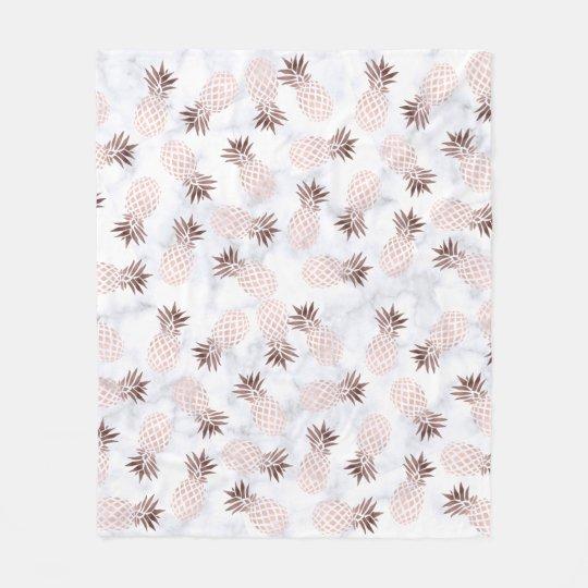 elegant modern white marble rose gold pineapple fleece
