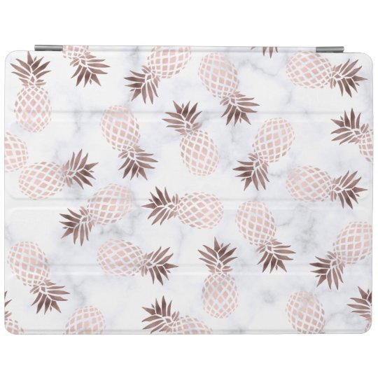 elegant modern white marble rose gold pineapple iPad